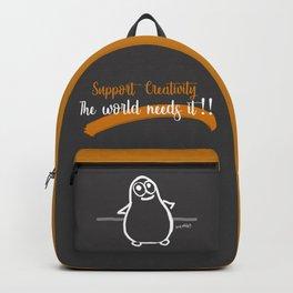 "Support Creativity, The world needs it!!"" (Tinny Potato 02) Backpack"