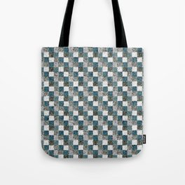 Rustic Gray Turquoise Green Beige Patchwork Tote Bag