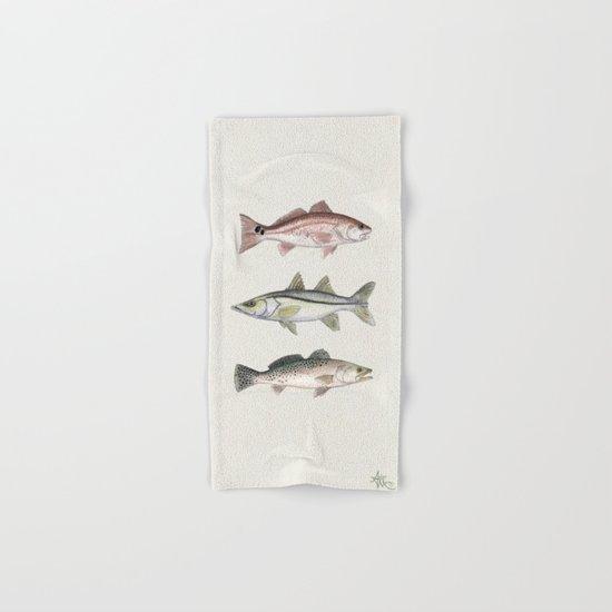 Inshore Slam! ~ Watercolor Redfish, Snook, and Trout Hand & Bath Towel