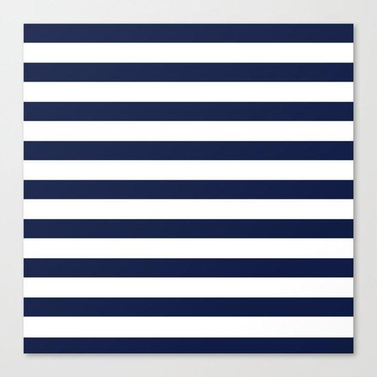 Nautical Navy Blue and White Stripes Canvas Print
