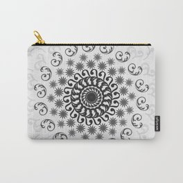 White, Black, Silver and Gray Mandala on Light Background Carry-All Pouch