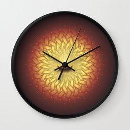 Сontemplation. Sacred geometry mandala, candle and lotus Wall Clock