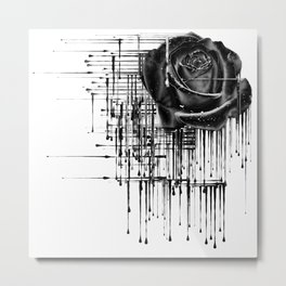 Dripping Black Rose Metal Print