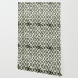 Braided Diamond Simply Green Tea on Lunar Gray Wallpaper