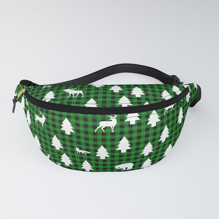 Woodland Pattern: Green Buffalo Plaid Fanny Pack
