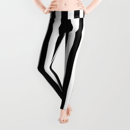 Abstract Black and White Vertical Stripe Lines 15 Leggings