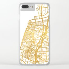 TEL AVIV ISRAEL CITY STREET MAP ART Clear iPhone Case