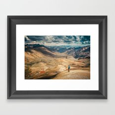 Man front of the mountain Framed Art Print
