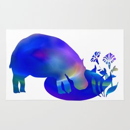 Hippo at the pond Rug