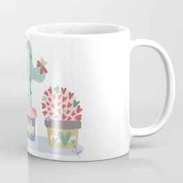 Trio of Boho Cactus with Hearts for Valentine's Day or Wedding or Boho Farmhouse Decor Coffee Mug