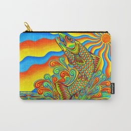 Psychedelic Rainbow Trout Fish Carry-All Pouch