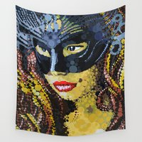 feminism Wall Tapestries featuring Starry Eyes by Fallen Apple Designs