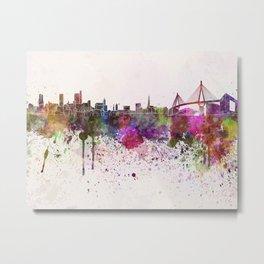 Hamburg skyline in watercolor background Metal Print