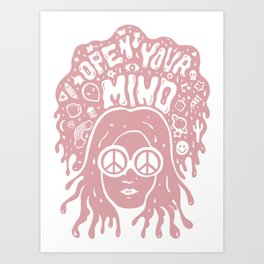 Open Your Mind in pink Art Print