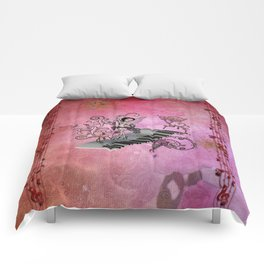 Cute fairy dancing on a piano Comforters