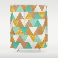 triangles Shower Curtains featuring Triangles by Cat Coquillette