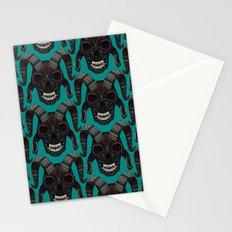 demon skull teal Stationery Cards