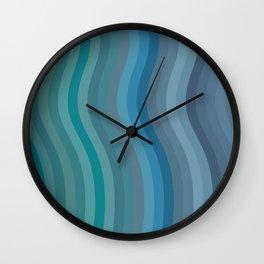 Zen Wavy Lines in Ocean Blue and Green Wall Clock