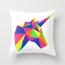 Rainbow Unicorn Geometric Design Throw Pillow