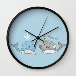 Horny Narwhal Wall Clock