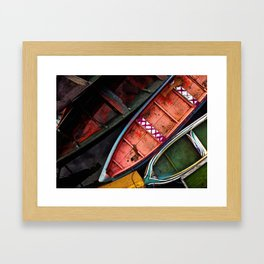 Colorful Amazon Fishing Boats Framed Art Print