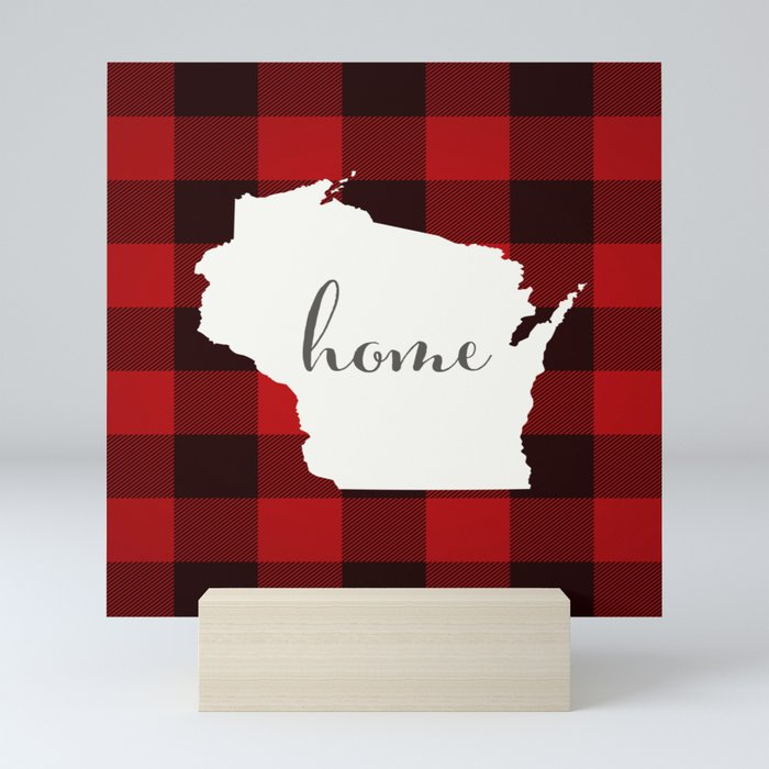 Wisconsin is Home - Buffalo Check Plaid Mini Art Print
