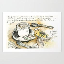 Camino de Santiago - desayuno tipico Art Print