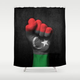 Libyan Flag on a Raised Clenched Fist Shower Curtain