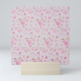 Modern Vintage Blush Pink  Romantic Floral Pattern Mini Art Print
