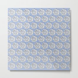 Background abstract white doodle-flowers, pattern, vector, texture design. Metal Print