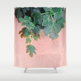 Pink Green Leaves Shower Curtain