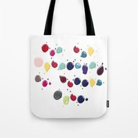 nail polish Tote Bags featuring Colorful Nail polish by Luxe Glam Decor
