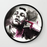 taxi driver Wall Clocks featuring Taxi Driver by Juan Pablo Cortes