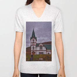 Husavik Church Iceland Unisex V-Neck