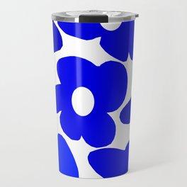 Large Blue Retro Flowers White Background Fresh Blue And White  #decor #society6 #buyart Travel Mug