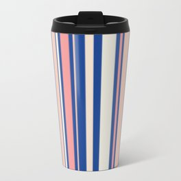 Pink Blue and Orange Stripes Metal Travel Mug