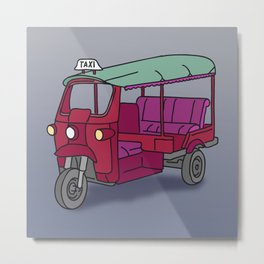Red tuktuk / autorickshaw Metal Print