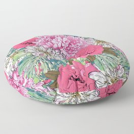 Cute Girly Pink & Green Floral Illustration Floor Pillow