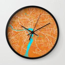 Ipswich, England, Gold, Blue, City, Map Wall Clock