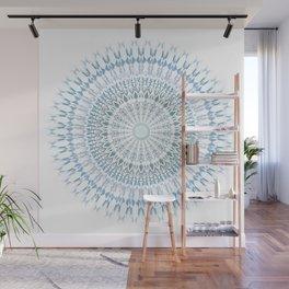 Grayish Blue White Mandala Wall Mural