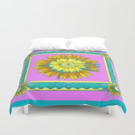 Lilac & Turquoise Yellow Sunflower Abstract Duvet Cover