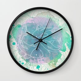 Watercolor Mandala and Koi Fish Wall Clock
