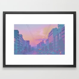 Anime sunset Framed Art Print