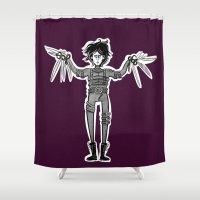edward scissorhands Shower Curtains featuring Edward Scissorhands by Mermelada de Sesos