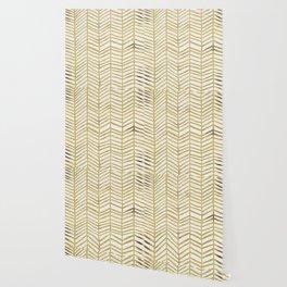Gold Herringbone Wallpaper