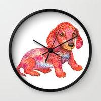 mini Wall Clocks featuring Mini Dachshund  by Ola Liola