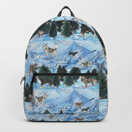 Dogs Skiing - Mountain Resort Scene with Bernese Mountain Dogs, Golden Retrievers, and Malamutes Backpack