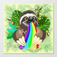 Sloth Spitting Rainbow Colors Canvas Print