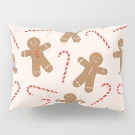 Gingerbread Man + Candy Cane Christmas Pattern Pillow Sham