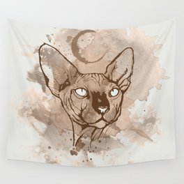 Watercolor Sphynx (Sepia/Coffee stain) Wall Tapestry